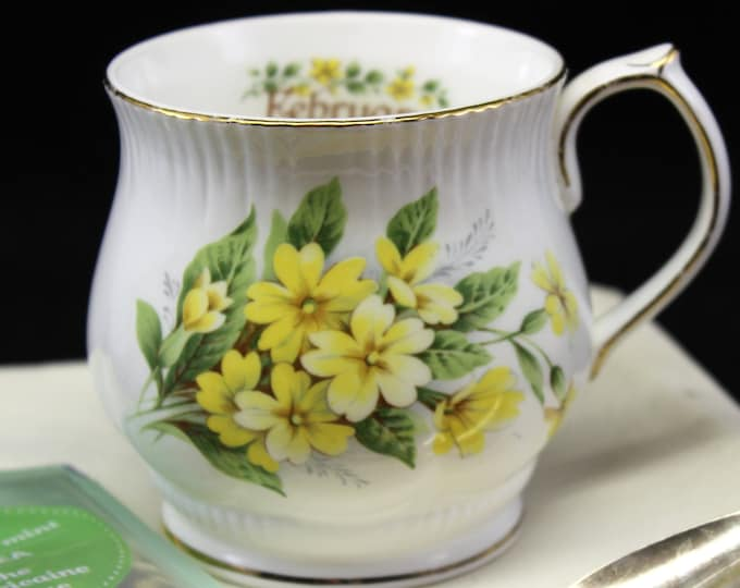 February Birthday Cup Mug with Yellow Violet Flowers.  February Flower of the Month Perfect Aquarius Gift