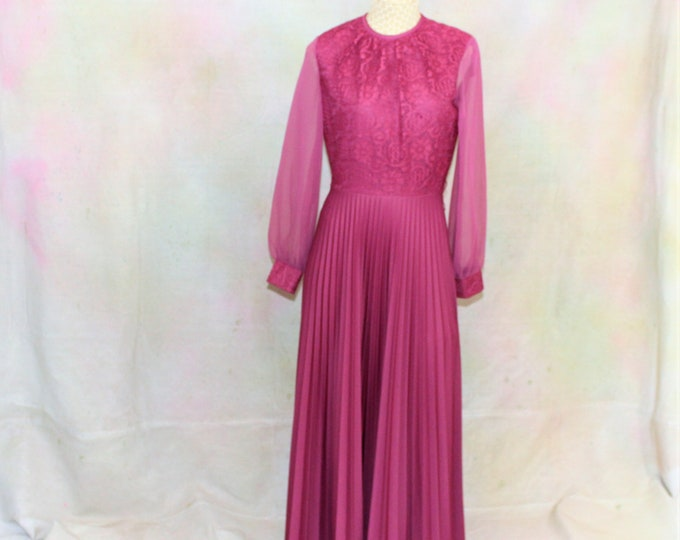 Formal Dress Vintage size 8. 1970's Long Bright Pink Evening Gown with Pleated Skirt and Sheer Sleeves. Vintage Size 8