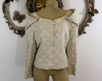 Peggy Jennings soutache braid cream colored jacket size 12 100 % linen Made in the U.S.A. second wedding formal wear