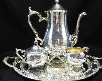 Silver plated coffee set includes sugar and tongs creamer platter vintage great condition coffee clutch tea lover coffee  shower luncheon