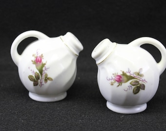 Vintage Moss Rose Salt and Pepper Shakers with handles.  Moss Rose Serving Pieces.  Moss Rose China.