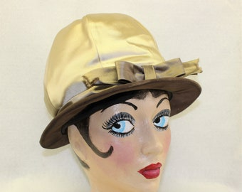 Rare Mr. John 1960's Mod Cloche Hat, Vintage Millinery in Champagne Taupe and Brown Colors, Famous Hat Designer, Collectible hat