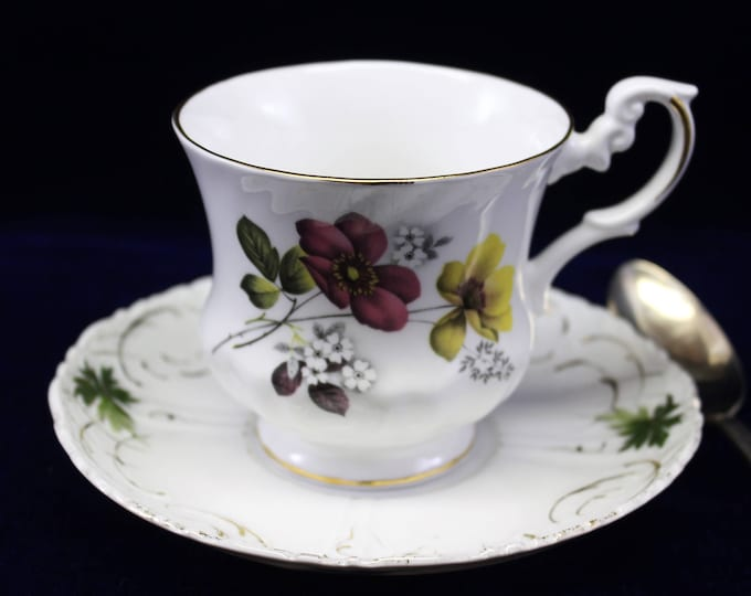 Royal Dover Pansy Flower Tea Cup with complimentary Saucer.  Vintage Mismatched Tea Cup Set.