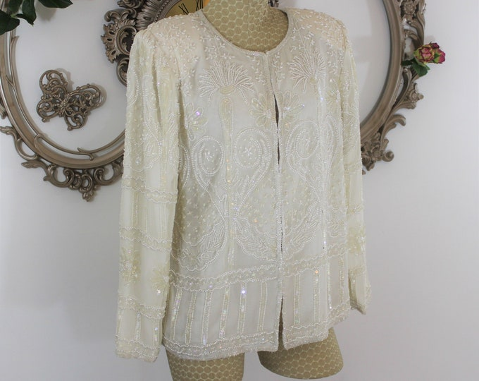 White beaded jacket size M by Lawrence Kazar with Tags.  NWT vintage beaded jacket coat in size M medium.  Fancy white silk formal top.