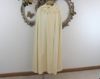 Long White Wool Cape with Attached Scarf.  Long Cloak Vintage Bride. One size fits all cloak.