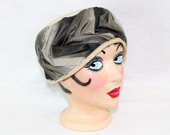 Gray Hat with Sheered Fabric.  Vintage style woven Hat Mrs Maisel Style