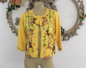 Monkey Teacher Sweater or Cardigan accented with swinging bananas and beaded pineapples in size S Petite.  Made by Jack B Quick