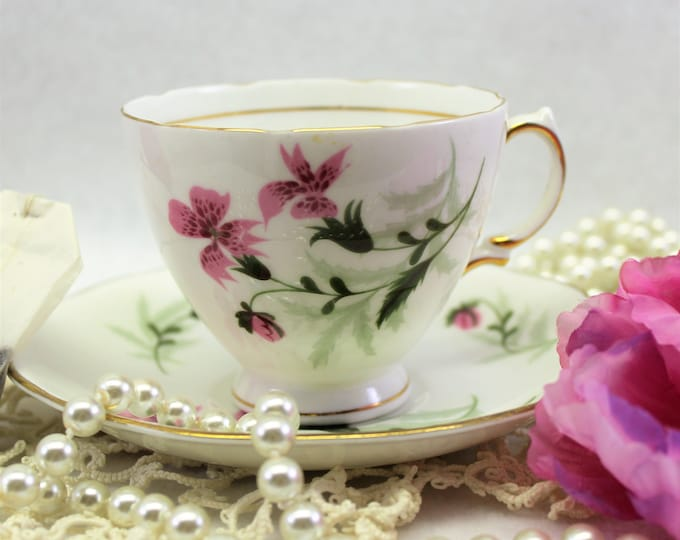 Tea Cup and Saucer with Pink Lilies. Colclough Vintage teacup in Pink and White.