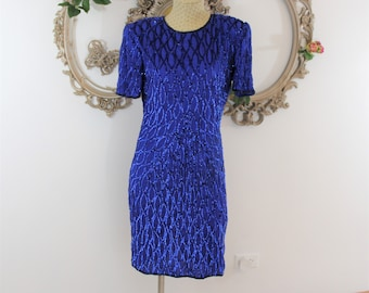 Royal Blue Sequin Dress in size S with short sleeves.  Vintage Formal Cocktail Dress beaded