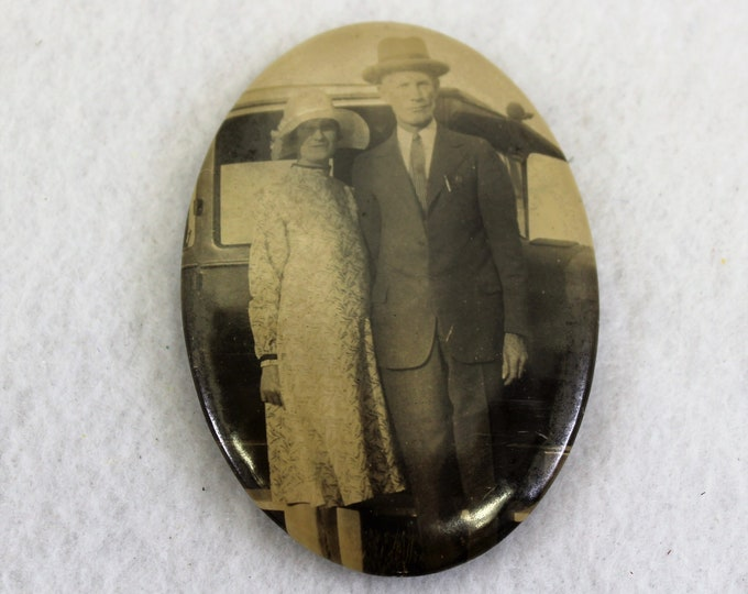 Antique Oval Pocket Mirror for purse with photo of 1930's couple