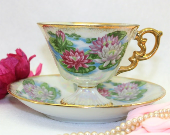 JULY tea cup with Water Lilies and Iridescent finish.  Birthday Anniversary Tea Cup and Saucer by Ucagco.