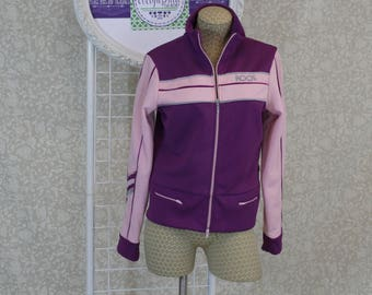 Vintage Athletic jacket by ROOS. Running Yoga Jacket in Pink and Purple Colors in Size L. Aerobic Jacket with Lots of Zippers Velvet Trim