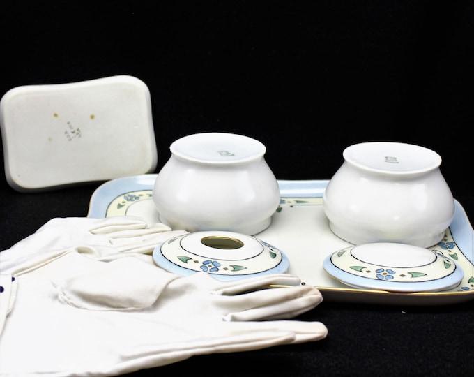 Vintage dresser set art deco design by Weimar Germany. Antique porcelain make up accessories