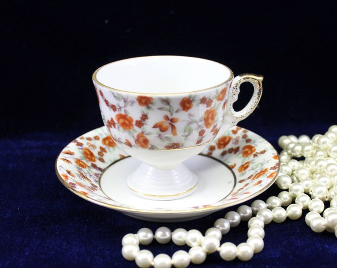 Orange Floral VINTAGE Tea Cup and Saucer Perfect For Tea Party