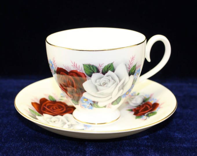 Mayfair Tea Cup and Saucer with Red and White Roses.  Vintage English Tea Cup by Mayfair Fine China. Perfect for shower favor or Tea Party