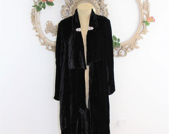 RARE Black Velvet Flapper Coat. 1920's Opera Coat with Rhinestone Clips, Ruffled Hem and Lapel.  Historical Collectible Roarinng 20's.