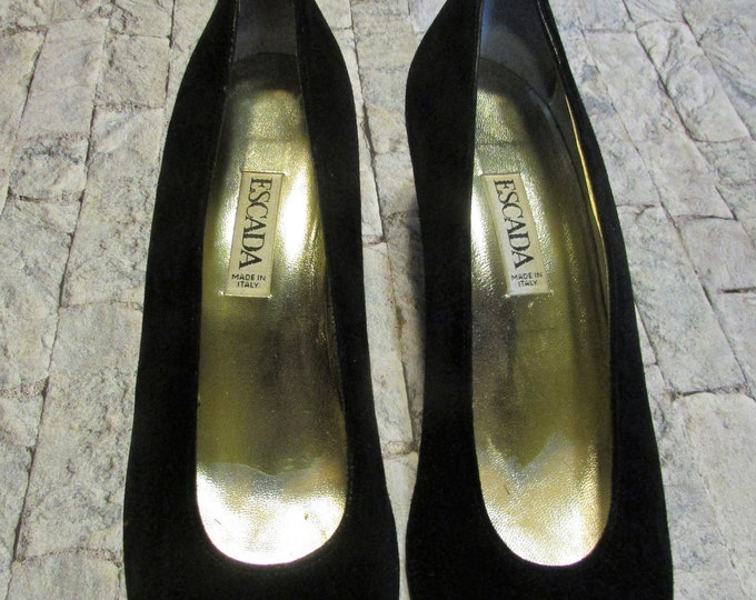 Escada black suede pumps with gold studded toes and heels in size 10 1/2 AA women's shoes.