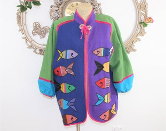Bright Colored Cotton Jacket with appliqued fish size L - XL.  Mexican Artist Victor Camarena Coat. Like new condition.