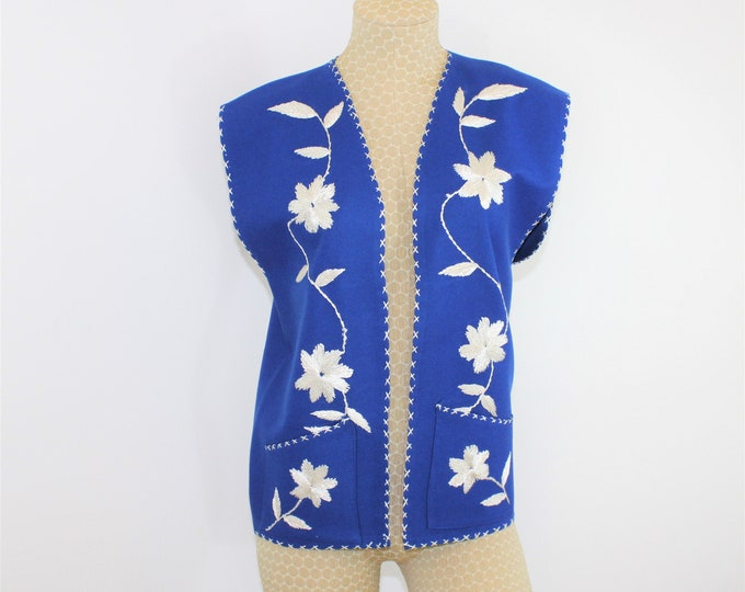 Vintage Mexican Vest Royal Blue with White Hand Embroidery.  1960's Mexican Folk Art Vest Never Worn.