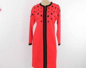 Red and Black Knit Dress US Size 8 with Embellishments.  Red Cocktail Dress. Holiday Party Dress.