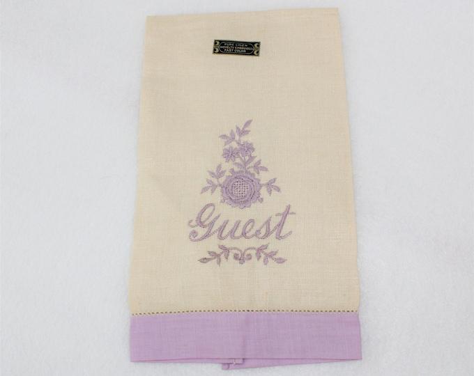 Vintage Linen Embroidered GUEST Towel.  Linen Guest Towel in Beige and Lavender.  Guest fingertip towel.  Guest Tea Towel