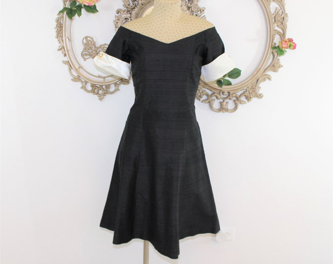 Black and White Off Shoulder Vintage Dress Size S with Short Sleeves.  Measurements Listed.  Raw Silk Fabric Dress.