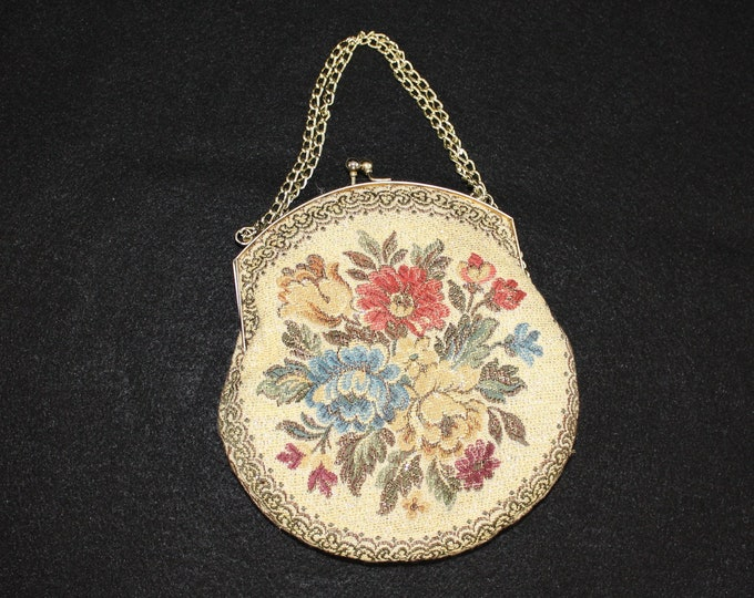 Vintage Tapestry handbag with metallic floral design by La Regale.  Handmade in Hong Kong small purse with kiss clasp