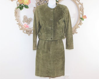 Green Suede Skirt Suit in size 2 Petite.  Olive Green suede leather skirt suit size XS-S Vintage.