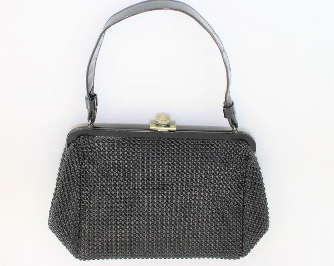 Black Textured Handbag by Garay.  Vintage Black Purse with Bubble Bead Look Texture.  Top Handled Bag