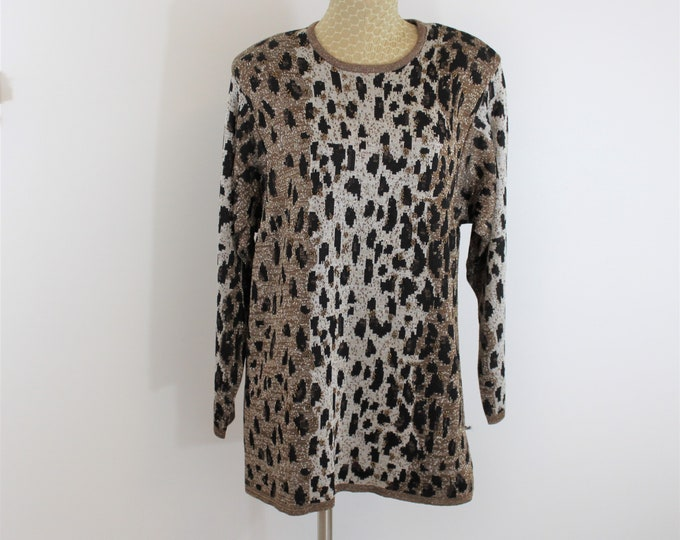Leopard Print Sweater Size L Large with Beads and Metallic Thread.  Metallic Long Leopard Sweater vintage.