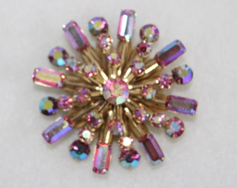 Iridescent Pink and Gold Rhinestone Pin or Brooch in Starburst design.  Vintage Starburst Pink Brooch.  Vintage Pink Pin.
