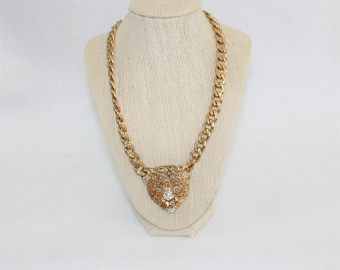 Leopard Head Necklace with Rhinestone Accents and Heavy Gold Toned Chain.  Vintage Leopard Necklace circa 1980's