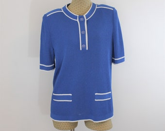 Blue and white Castleberry Knit Top with short sleeves.  Quality fine knit women's sweater modern size L to XL see measurements.