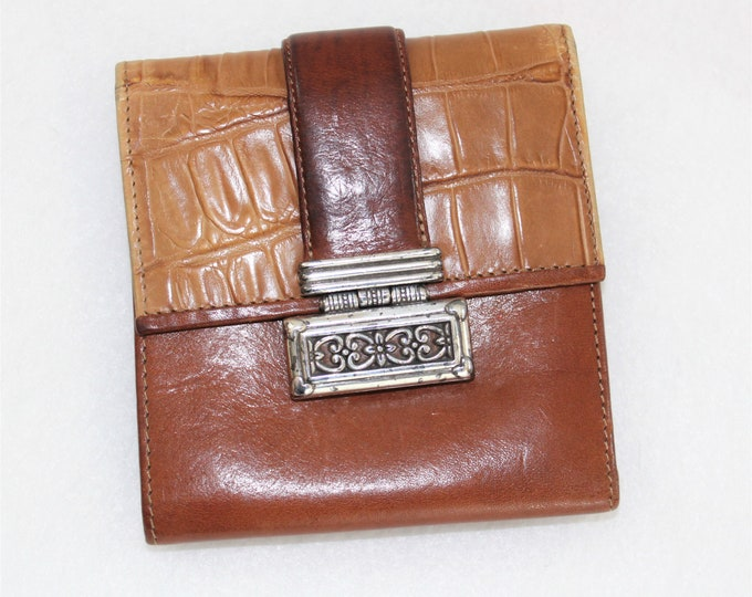 Vintage Brighton Leather Wallet with Coin Purse.  Tan and Brown Brighton Wallet.