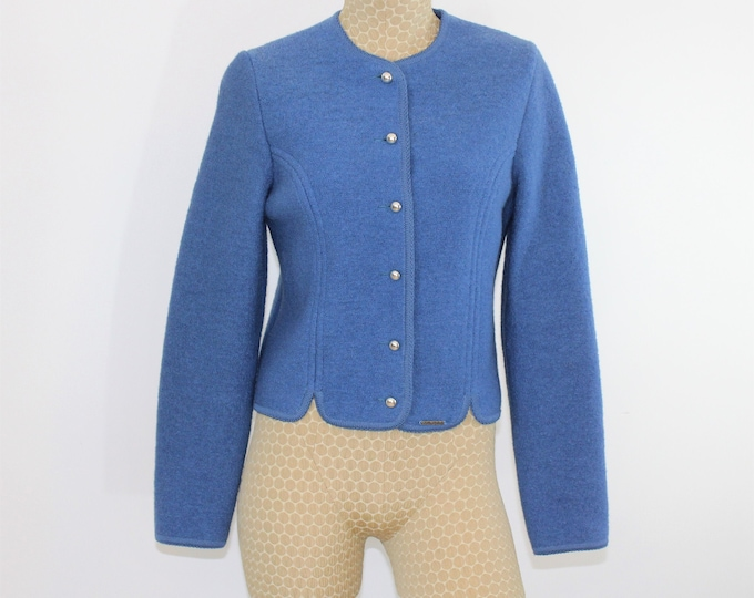 Blue Geiger Tryol Boiled Wool Sweater Size M.  Dusty Blue Boiled wool cardigan made in Austria
