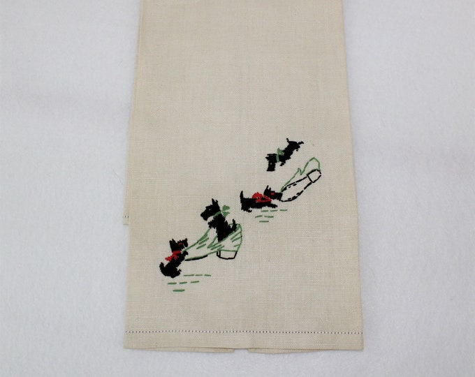 Vintage Embroidery Scottie Dog Hand Tea Towel.  Linen Hand Embroidered Scottie Dog Kitchen Towel.  4 Black Dogs and shoes linen.