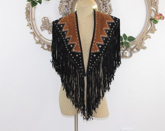 Fringe cape in Black and Brown. Western wear fringe Cape. RockStar Cape Collar. Country music. One size fits all