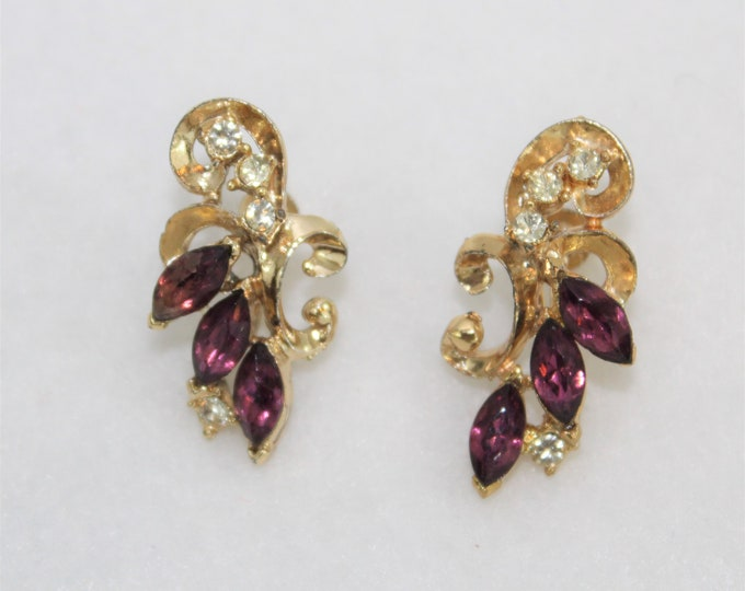 Screw Back Gold Earrings with Purple Marquis and Clear Round Rhinestones.  Vintage Earrings Purple and Gold colors.