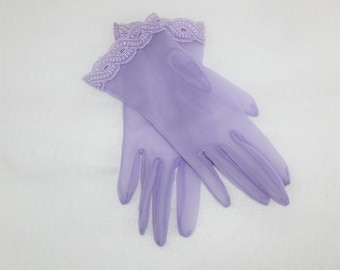 Sheer Lavender Wrist Length Gloves with decorative trim on wrist. Pale purple vintage like new dress gloves. 1950's 1960's fashion accessory