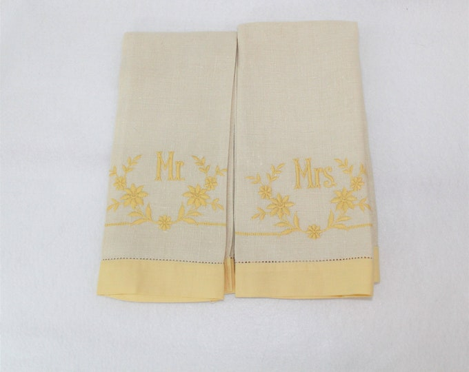 Vintage Mr and Mrs Linen Embroidery Hand Towels in Beige and Yellow.  Linen Embroidered Tea Towel for Mr and Mrs.  Retro wedding shower gift