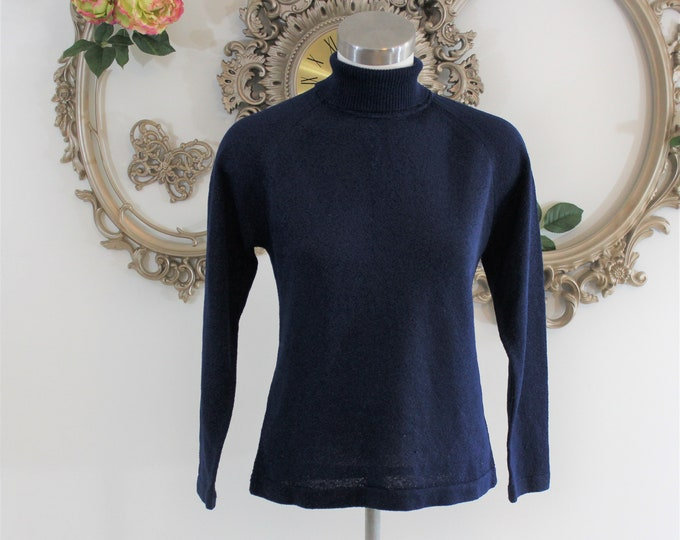 Blue Sweater with zippered turtleneck by Talbott Travler size 34.  Vintage lightweight blue turtle neck boxy sweater