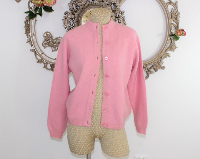60's Pink Cardigan Size M by Glenayr Kitten Luxury Fur Blend Sweater with Pink Buttons.  Bubble Gum Pink Cardigan from 1960's.  Retro Pin Up