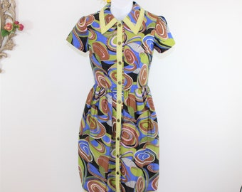 OOAK Mod Print Dress Size XXS - XS, Colorful Handmade Button Front Fitted Dress with Gathered skirt Extra Small, short sleeves