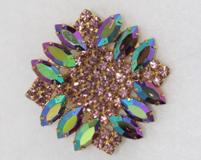 Sparkly Square Rhinestone Pin or Brooch in Pink, Purple and Gold Colors.  Multi dimensional vintage pin with marquis and round glass stones.