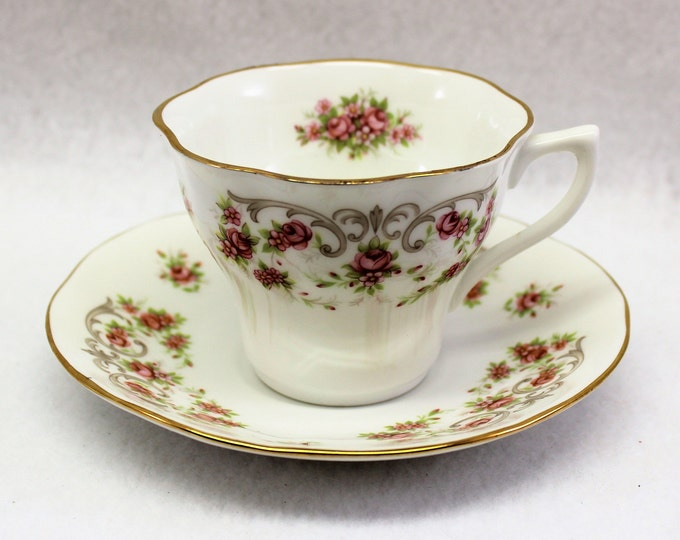 White Tea Cup and Saucer with Dainty Pink Roses. Rosina Queens Fine Bone China English Tea Cup Set.