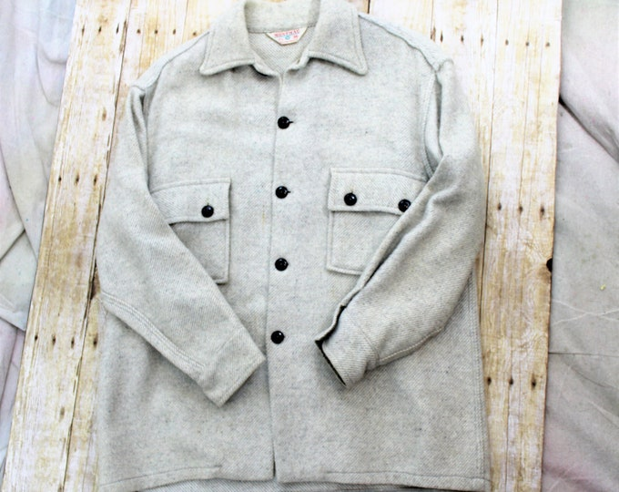 Vintage Montmac Shirt Jacket in size M by Rice Sportswear.  Woolen shirt jacket in cream and gray tones.