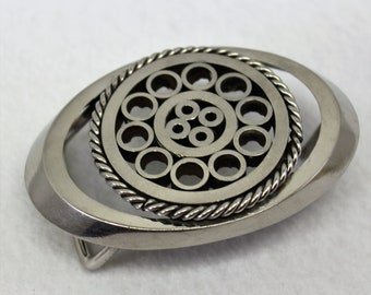 Silver Oval Metal Belt Buckle with Circle Design, Unique Unisex Statement belt buckle, Shiny Heavy Metal Buckle,