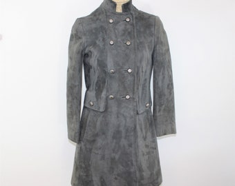 Gray Suede Coat Military Style size 5 XS - S.