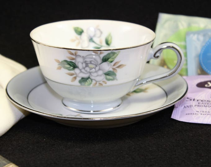 Gray and White Tea Cup and Saucer by HARMONY HOUSE with Sheraton 3250 pattern.  modern gray and white