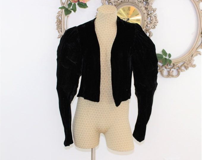 Authentic 1920's Black Short Cropped Silk Velvet Jacket with Puffy Sleeves. Leg of Mutton Sleeve Waist length coat.